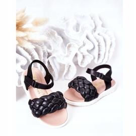 FR1 Sandale pentru copii cu Adella neagră împletită negru 4