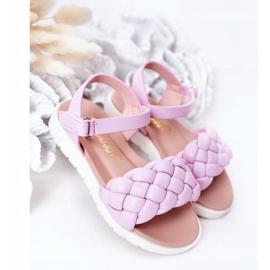 FR1 Sandale pentru copii cu Adella violet împletit 2