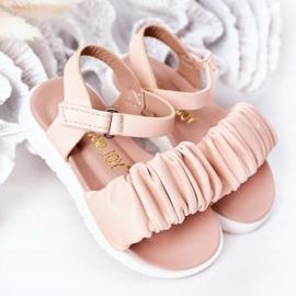 FR1 Sandale pentru copii cu velcro roz Aimy 2