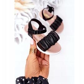 FR1 Sandale negre pentru copii, cu velcro negru 3