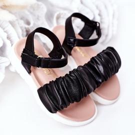 FR1 Sandale negre pentru copii, cu velcro negru 2