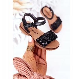 FR1 Sandale pentru copii cu Bailly negru împletit 6