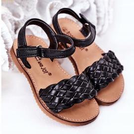 FR1 Sandale pentru copii cu Bailly negru împletit 5