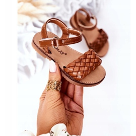 FR1 Sandale pentru copii cu cămilă împletită Bailly maro 3