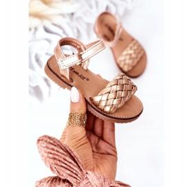 FR1 Sandale pentru copii cu Bailly din aur roz împletit de aur 3
