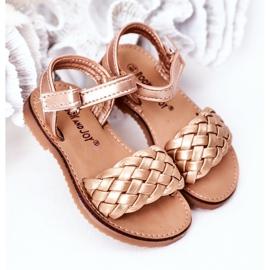 FR1 Sandale pentru copii cu Bailly din aur roz împletit de aur 2