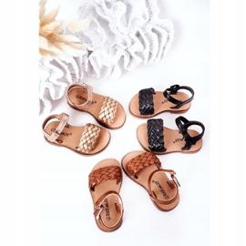 FR1 Sandale pentru copii cu Bailly din aur roz împletit de aur 1