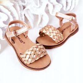 FR1 Sandale pentru copii cu Bailly din aur roz împletit de aur 4