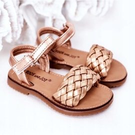 FR1 Sandale pentru copii cu Bailly din aur roz împletit de aur 5