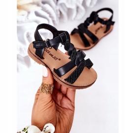 FR1 Sandale pentru copii cu brocart negru Batilda 4