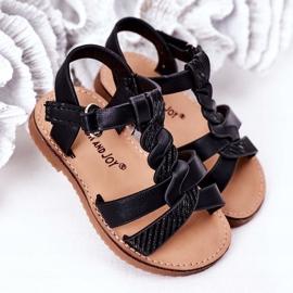 FR1 Sandale pentru copii cu brocart negru Batilda 2