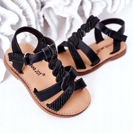FR1 Sandale pentru copii cu brocart negru Batilda 3