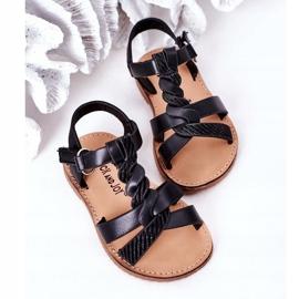 FR1 Sandale pentru copii cu brocart negru Batilda 5