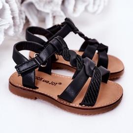 FR1 Sandale pentru copii cu brocart negru Batilda 6