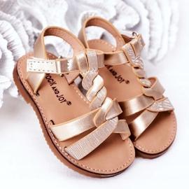 FR1 Sandale pentru copii cu brodat Golden Batilda de aur 4