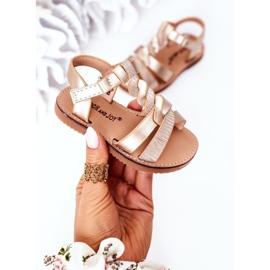 FR1 Sandale pentru copii cu brodat Golden Batilda de aur 3
