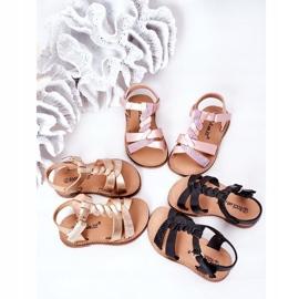 FR1 Sandale pentru copii cu brodat Golden Batilda de aur 1