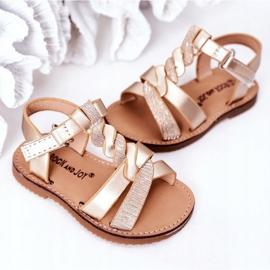 FR1 Sandale pentru copii cu brodat Golden Batilda de aur 2