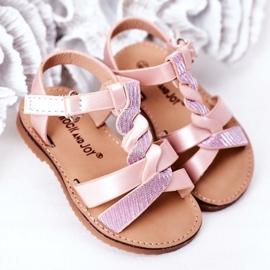 FR1 Sandale pentru copii cu brodat roz Batilda 2