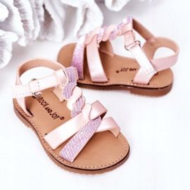 FR1 Sandale pentru copii cu brodat roz Batilda 1