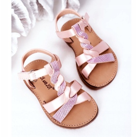 FR1 Sandale pentru copii cu brodat roz Batilda 3