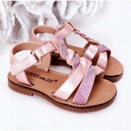FR1 Sandale pentru copii cu brodat roz Batilda 4