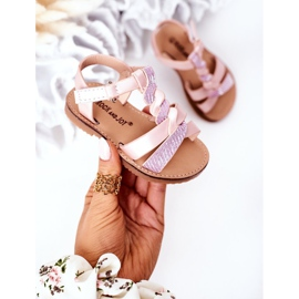 FR1 Sandale pentru copii cu brodat roz Batilda 5