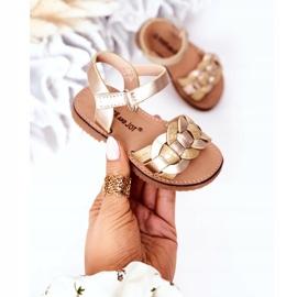 FR1 Sandale pentru copii cu model de șarpe Golden Baxlee de aur 2