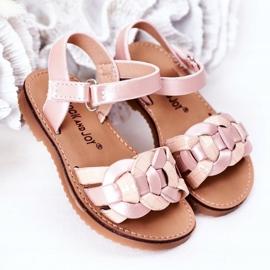 FR1 Sandale pentru copii cu model șarpe roz Baxlee 2