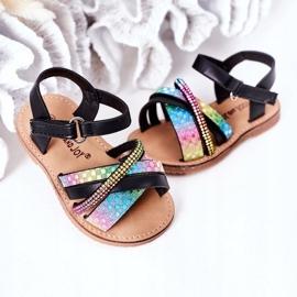 FR1 Sandale pentru copii cu paiete Black Becky negru multicolor 4