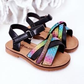 FR1 Sandale pentru copii cu paiete Black Becky negru multicolor 1