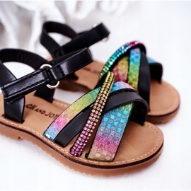 FR1 Sandale pentru copii cu paiete Black Becky negru multicolor 5