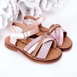 FR1 Sandale pentru copii cu paiete roz Becky 1