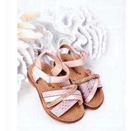 FR1 Sandale pentru copii cu paiete roz Becky 2