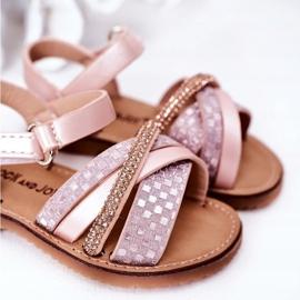 FR1 Sandale pentru copii cu paiete roz Becky 5