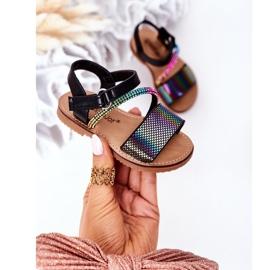 FR1 Sandale pentru copii cu paiete Black Blake negru multicolor 3