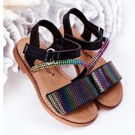 FR1 Sandale pentru copii cu paiete Black Blake negru multicolor 2