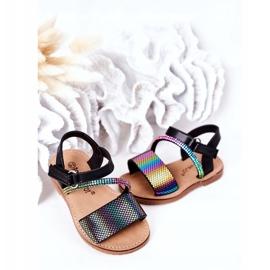 FR1 Sandale pentru copii cu paiete Black Blake negru multicolor 4