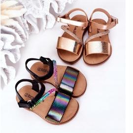 FR1 Sandale pentru copii cu paiete Black Blake negru multicolor 1