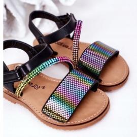 FR1 Sandale pentru copii cu paiete Black Blake negru multicolor 5