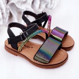 FR1 Sandale pentru copii cu paiete Black Blake negru multicolor 6