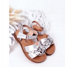 FR1 Sandale pentru copii cu lanț argintiu Buffy 2