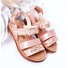 FR1 Sandale strălucitoare pentru copii Șarpe roz Natalie maro 1