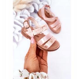 FR1 Sandale strălucitoare pentru copii Șarpe roz Natalie maro 2