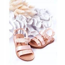 FR1 Sandale strălucitoare pentru copii Șarpe roz Natalie maro 3
