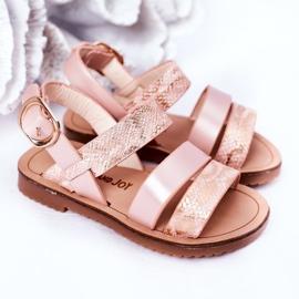 FR1 Sandale strălucitoare pentru copii Șarpe roz Natalie maro 4