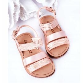 FR1 Sandale strălucitoare pentru copii Șarpe roz Natalie maro 5