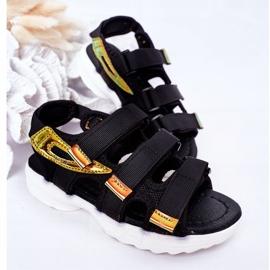 Sandale sport pentru copii cu Velcro Black Flyn negru 4