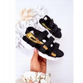 Sandale sport pentru copii cu Velcro Black Flyn negru 3