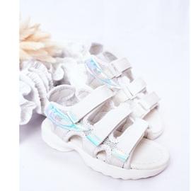 Sandale sport pentru copii cu velcro alb Flyn 3